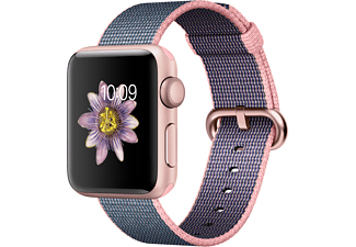 APPLE Watch Series 2 38mm roségoud aluminium / roze-blauw nylonbandje
