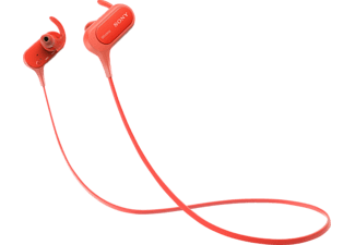 SONY MDR-XB50BS, In-ear Kopfhörer, Near Field Communication, Headsetfunktion, Bluetooth, spritzwassergeschützt, Rot