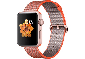 APPLE Watch Series 2 42mm roségoud aluminium / oranje-antraciet nylonbandje