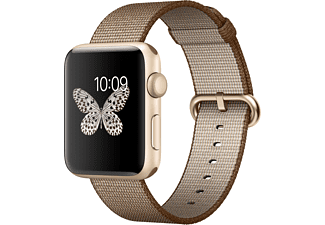 APPLE Watch Series 2 42mm goud aluminium / koffiebruin nylonbandje