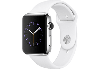APPLE  Watch Series 2 Smart Watch Edelstahl Sportband, 42 mm, Silber/Weiß