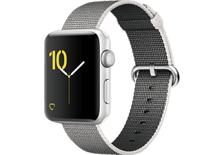 APPLE Watch Series 2 42 mm, Smart Watch, Nylonband, Silber/Perlgrau
