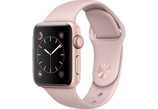 APPLE Watch Series 2 38 mm, Aluminium, Sportband, Rose Gold/Pink Sand (Smart Watch)