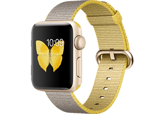APPLE Watch Series 2, Smart Watch, Nylonband, 38 mm, Gold/Gelb/Hellgrau