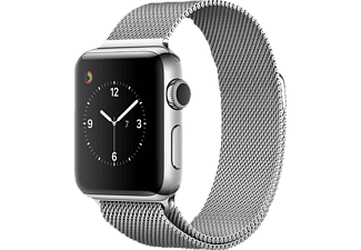 APPLE  Watch Series 2 Smart Watch Edelstahl Edelstahl Milanese Armband, 38 mm, Silber/Silber
