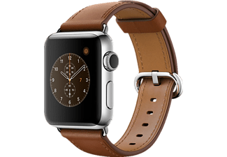 APPLE Watch Series 2, Smart Watch, Echtleder, 38 mm, Silber/Braun