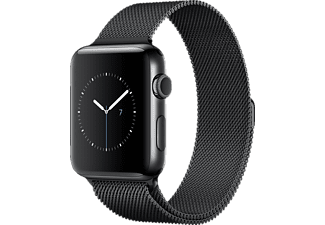 APPLE Watch Series 2 42 mm, Smart Watch, Edelstahl Milanese Armband, Schwarz/Schwarz