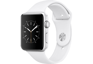 APPLE Watch Series 2 42 mm, Aluminium, Sportband, Silber/Weiß (Smart Watch)