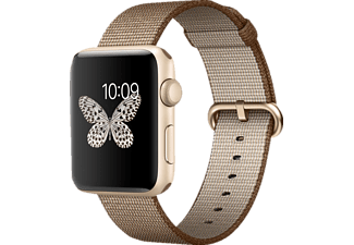 APPLE Watch Series 2 42 mm, Smart Watch, Nylonband, Gold/Kaffee/Karamell