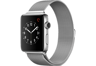 APPLE  Watch Series 2 Smart Watch Edelstahl Edelstahl Milanese Armband, 42 mm, Silber/Silber