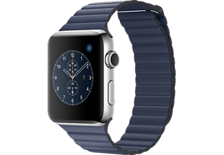 APPLE Watch Series 2, Smart Watch, Echtleder Armband, 42 mm, Silber/Mitternachtsblau