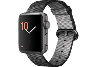 APPLE Watch Series 2 38 mm, Aluminium, Nylonband, Grau/Schwarz (Smart Watch)