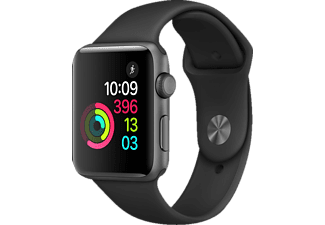 APPLE Watch Series 2 42 mm, Smart Watch, Sportband, Grau/Schwarz