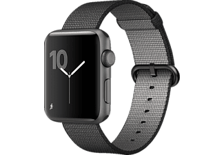 APPLE  Watch Series 2 Smart Watch Aluminium Nylonband, 42 mm, Grau/Schwarz