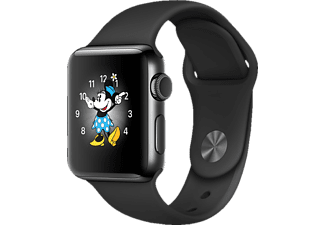 APPLE Watch Series 2 38 mm, Edelstahl, Sportband, Schwarz/Schwarz (Smart Watch)