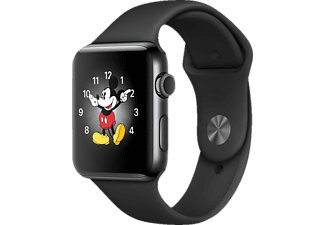 APPLE Watch Series 2 42 mm, Smart Watch, Sportband, Schwarz/Schwarz