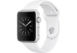 APPLE Watch Series 1, Smart Watch, Sportband, 42 mm, Silber/Weiß