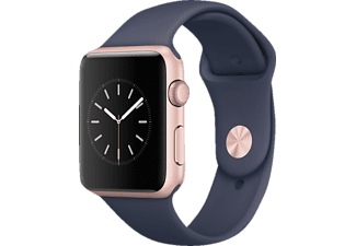 APPLE Watch Series 1, Smart Watch, Sportband, 42 mm, Rosegold/Mitternachtsblau