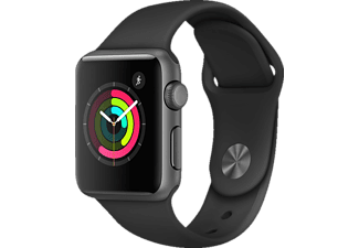 APPLE Watch Series 1, Smart Watch, Polymer, 38 mm, Space Grey/Schwarz