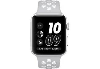 APPLE Watch Series 2 42 mm Nike+, Aluminium, Sportband, Silber/Silber/Weiß (Smart Watch)