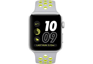 APPLE Watch Series 2 38 mm Nike+, Aluminium, Sportband, Silber/Silber/Gelb (Smart Watch)