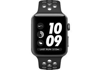 APPLE Watch Series 2 42 mm Nike+, Aluminium, Sportband, Space Grau/Schwarz/Grau (Smart Watch)