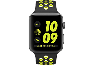 APPLE Watch Series 2 Nike+, Smart Watch, Sportband, 42 mm, Space Grau/Schwarz/Gelb