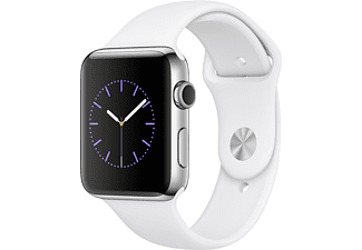 APPLE Watch Series 2 42mm roestvrij staal / wit sportbandje