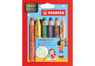STABILO 8806-2 Woody 6er Etui m Spitzer Multitalentstift