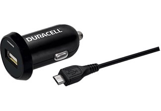 DURACELL Car Charger with Single USB 2.4Α & Micro USB Cable 1m Black