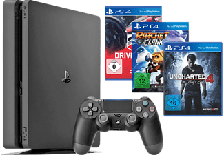 SONY PlayStation 4 Konsole Slim 1TB + Uncharted 4 + DriveClub + Ratchet & Clank