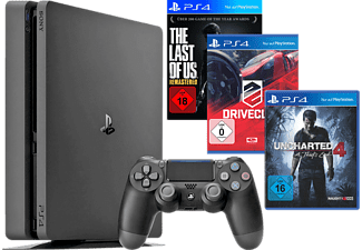 SONY PlayStation 4 Konsole Slim 1TB + Uncharted 4 + DriveClub + The Last Of Us