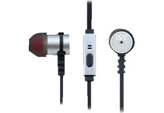 ISY Metal In-Ear Headset, silver, In-ear Kopfhörer, Headsetfunktion, Silber