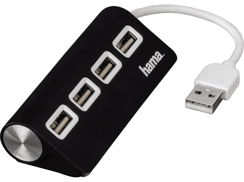 HAMA USB 2.0 Hub 1:4 Bus Powered Black - (12177) computing   tablets   offline αξεσουάρ υπολογιστών usb hubs laptop  tablet  comp