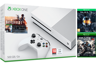 MICROSOFT Xbox One S (inkl Battlefield 1, Halo MCC,  Gears of War 4 - 500 GB
