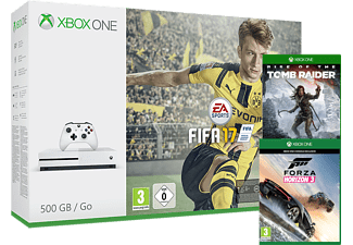 MICROSOFT Xbox One S 500 GB + Fifa 17 + Rise Of The Tomb Raider + Forza Horizon
