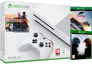 MICROSOFT Xbox One S 500 GB + Battlefield 1 + Halo 5 + Forza Horizon