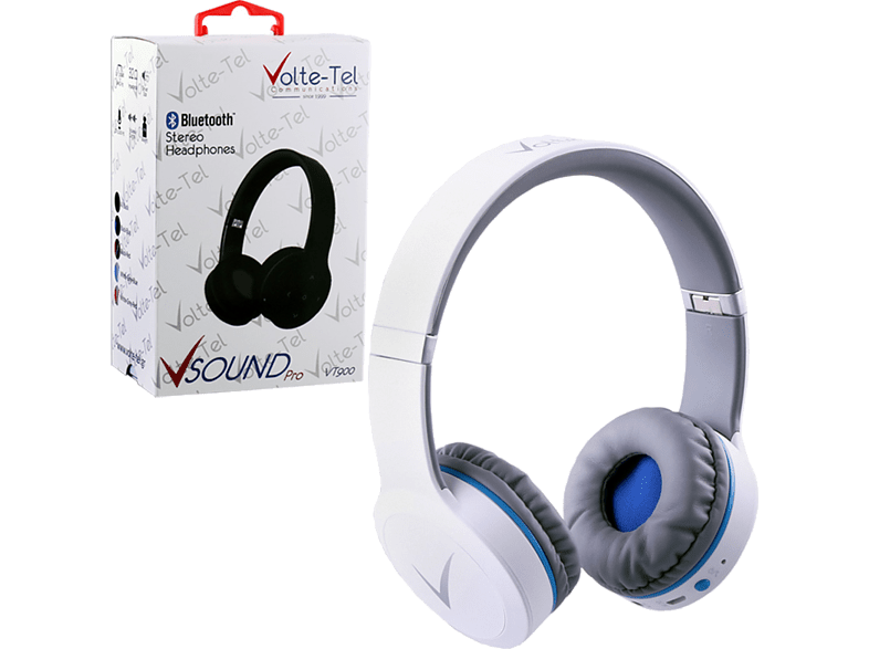 VOLTE-TEL Stereo Bluetooth Headphones V Sound Pro VT900 White-Grey-Blue laptop  tablet  computing  περιφερειακά headset τηλεόραση   ψυχαγωγία ακουστικά
