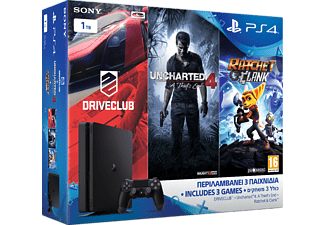 SONY PS4 1ΤΒ D Slim + Uncharted 4: Το Τέλος ενός Κλέφτη + Driveclub + Ratchet & Clank