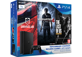 SONY PS4 1ΤΒ D Slim + Uncharted 4: Το Τέλος ενός Κλέφτη + Driveclub + The Last of Us Remastered