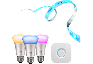 PHILIPS Hue, Starter Set E27, incl. Bridge, Lightstrip+ 2m Basis Starter Kit Mehrfarbig