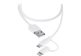 VIVANCO Lightning+MicroUSB kabel MFI 1m - Vit