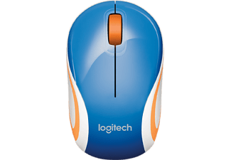 LOGITECH M187 Mini, Maus, kabellos, Blau/Orange/Weiß