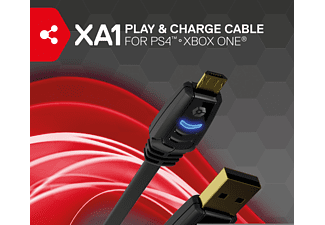 GIOTECK XA-1 Play and Charge USB-Kabel für PS4 und Xbox One, USB-Kabel, Schwarz