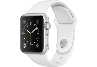 APPLE Watch Series 1, Smart Watch, Polymer, 38 mm, Silber/Weiß