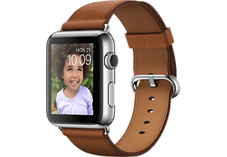 APPLE Watch 42mm - Steel med läderarmband i Brunt