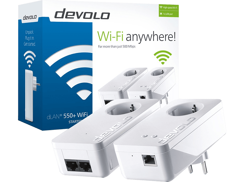 DEVOLO dLAN 550 με WiFi Starter Kit Powerline - (9840) laptop  tablet  computing  δικτυακά access point  router  range extender  switch