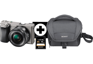 SONY Alpha 6000 LH Kit Systemkamera, 24.3 Megapixel, Full HD, Exmor APS-C Sensor, Externer Blitzschuh, Near Field Communication, 16-50 mm Objektiv, Autofokus, Grau