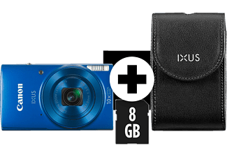 CANON Ixus 190 Kit (DCC1320+8GB) Digitalkamera, 20 Megapixel, 10x opt. Zoom, HD, CCD Sensor, Near Field Communication, 24-240 mm Brennweite, Autofokus, Blau
