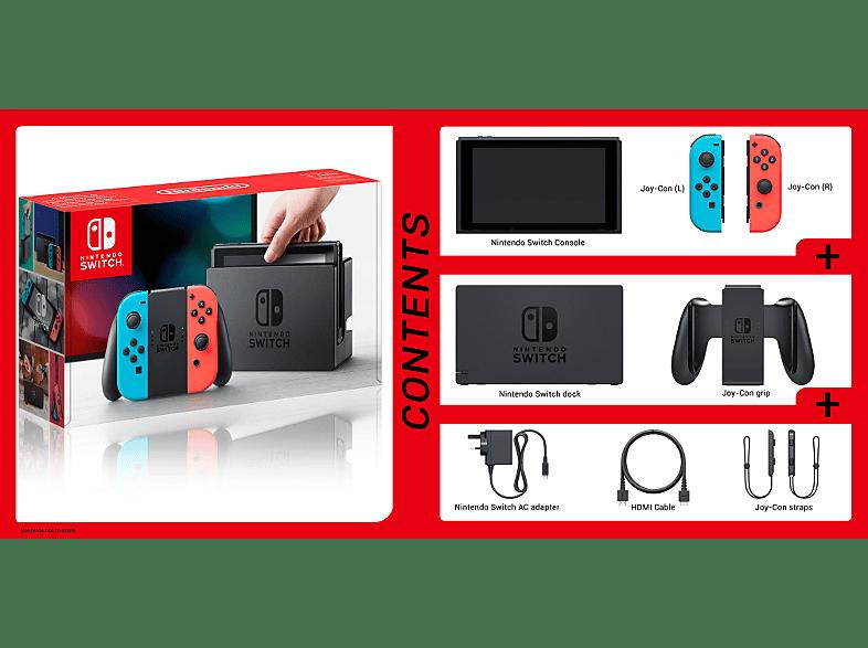 Nintendo Switch konzol, neon kék és neon piros Joy-Con kontrollerrel